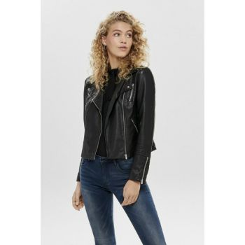 Women's Black Faux Leather Biker Style Coats 15153079 ONLGEMMA