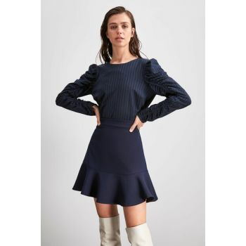 Navy Blue Flywheel Skirt TWOAW20ET0617