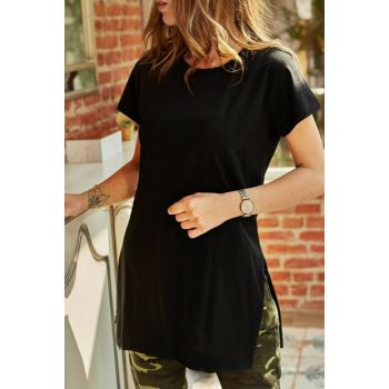 Women's Black Slit Crew Neck T-Shirt 9YXK1-41909-02