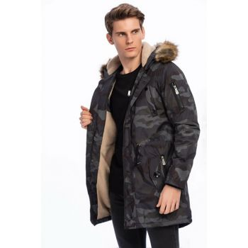 Men's Navy Blue Removable Faux Furry Hooded Plush Lined Camouflage Thick Coat 3170