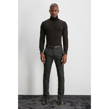 Anthracite Men Square Patterned Trousers TMNAW20PL0612