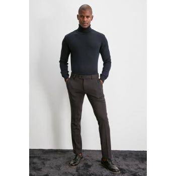 Navy Blue Men Patterned Fabric Trousers TMNAW20PL0619