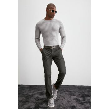 Gray Men Patterned Fabric Trousers TMNAW20PL0621