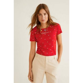 Women's Red Logo Embroidered T-Shirt 53030652