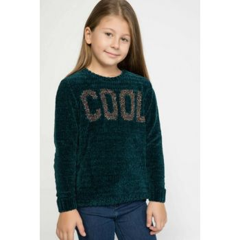 Green Girl Children Sequin Slogan Printed Sweater Pullover J0642A6.18WN.GN246