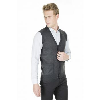 Men's Anthracite Vest - 1518Duzye