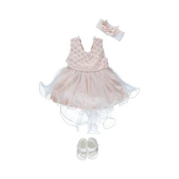 Embroidery Ruched 4-Piece Baby Girl Dress Set Salmon PS147