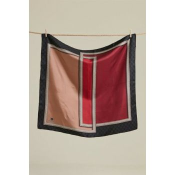 Women Burgundy Viscona Twill Silk Scarf 17186