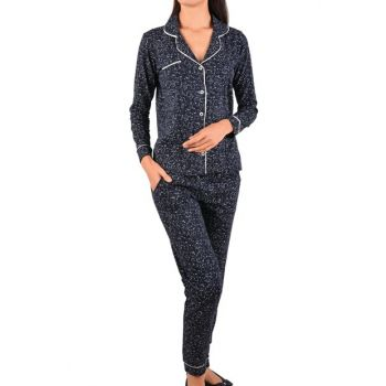Women's Navy Blue Long Sleeve Buttoned Pockets Cotton Pajama Set 96282