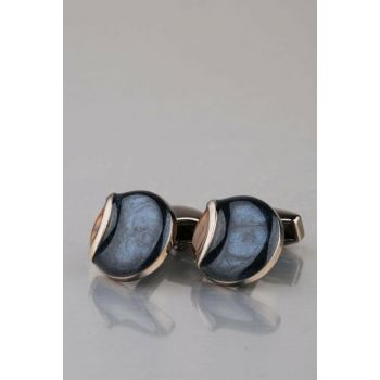 Men's Navy Blue - Brown Stone Round Cufflinks KD942 KRVT8690002223223