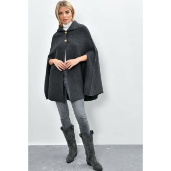 Women's Anthracite Sweater Poncho SMT99