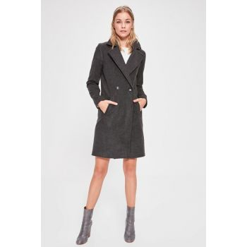 Anthracite Double-breasted Stamped Coat with Front Button TWOAW20KB0113