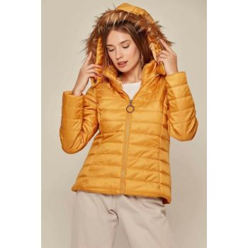 Women's Mustard Hooded Furry Inflatable Coats 5083 Y19W110-5083