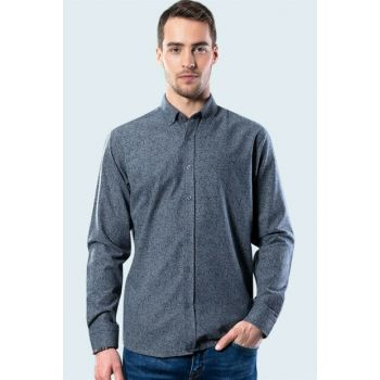 Slim Fit Floral Pattern Gray Winter Shirt DR200007-173