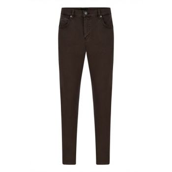 Men's Brown Cotton Slim Pants 352706