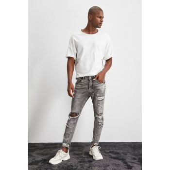 Gray Men Destroyl Tapered Skinny Jeans TMNAW20JE0431