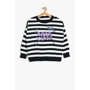Navy Blue Striped Girl Sweater 9KKG97199HT
