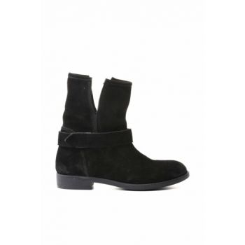 Genuine Leather Black Suede Women Boots 8K2TB56667