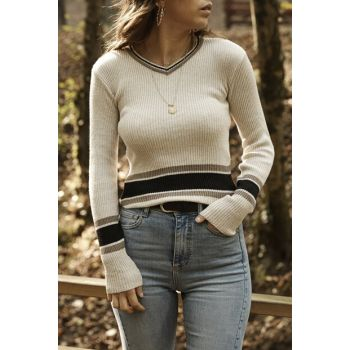 Women's Stone Color Stone Color V-neck Striped Sweater 9YXK6-41564-56