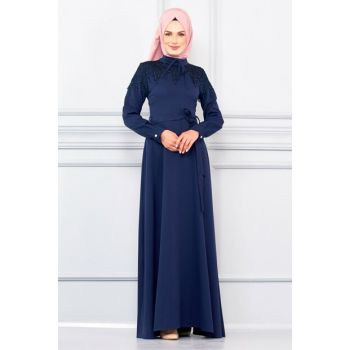 Women's Navy Blue Front Embroidered and Belted Dress BNKM195003005