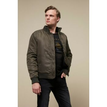 Men's Khaki Stand Collar Bomber Jacket 352779