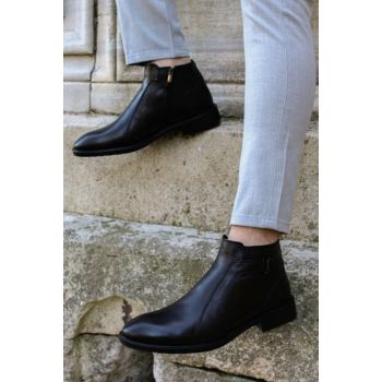 Genuine Leather Black Men Boots & Bootie 1849711