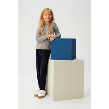 Navy Blue Girls Trousers Straight Cut 53045021