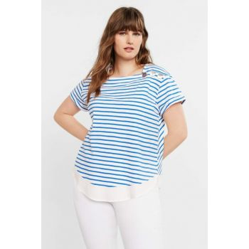 Women Blue Striped T-Shirt 53000541