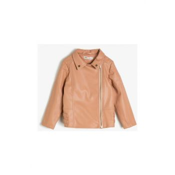 Pink Kids Leather Look Coat 0KKG27608AW