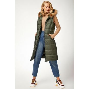 Women's Khaki Hooded Furry Inflatable Vest 10233BGD19_004