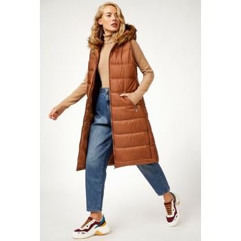 Women's Taba Hooded Fur Inflatable Vest 10233BGD19_030