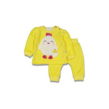 Yellow Baby Girl Chick Velvet Suit AF90259