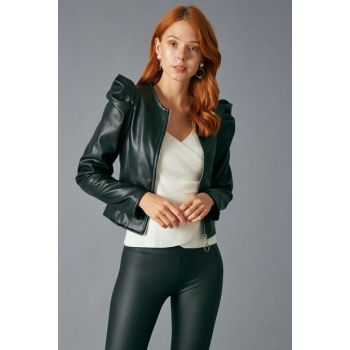 Women Black Faux Leather Jacket Black D88154-102
