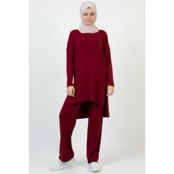 Women's Burgundy Tricot Set 3832