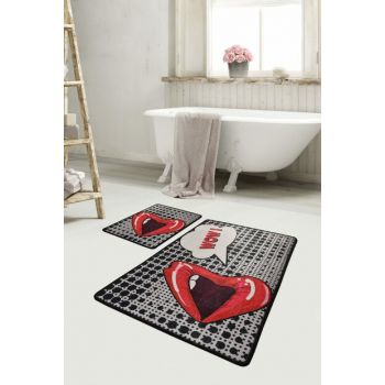 60x100 - 50x60 Kiss Digital Set of 2 Li Bath Mat Bath Mat, Doormat 8682125929040