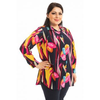 Women's Navy Blue Classic Pattern Shirt P9688