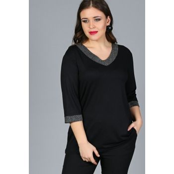 Women's Black Collar Sleeve Sim Blouse M9288