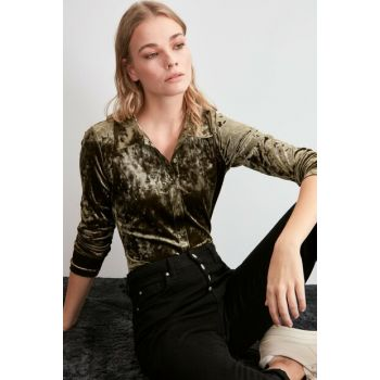 Khaki Velvet Knitted Shirt TWOAW20GO0506