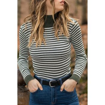 Women Khaki & Ecru Khaki & Ecru Striped Turtleneck Sweater 9YXK6-41558-09