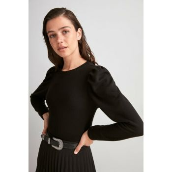 Black Balloon Sleeve Knitted Blouse TWOAW20BZ1178