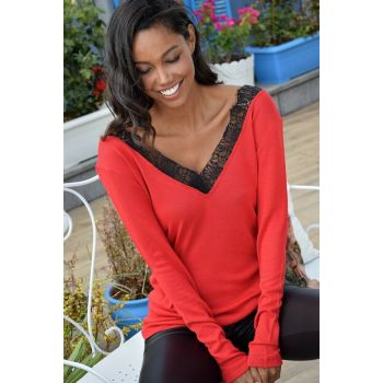 Women's Red V Neck Lace Detailed Blouse ALC-015-299-TE