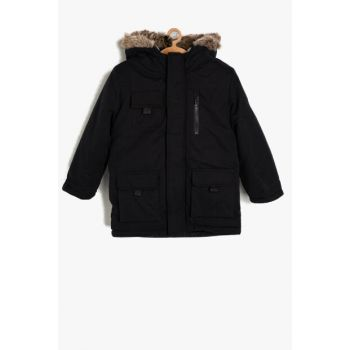 Navy Blue Boy Hooded Coat 9KKB26536OW