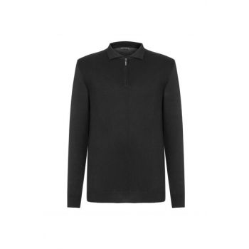 Men's Black Polo Neck Cotton Pullover 338077