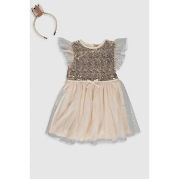 Girl Child Vanilla Dress And Crown 9WR463Z4