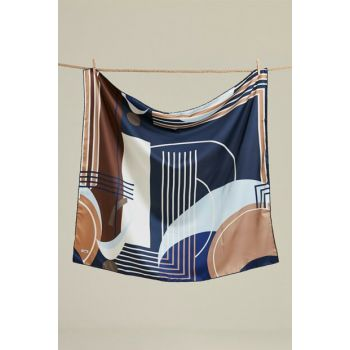 Women's Gold Patterned Polyester Scarf HSE5002
