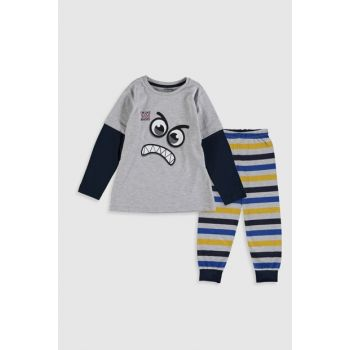 Boys' Gray Melange Pajamas Set 9WM591Z4