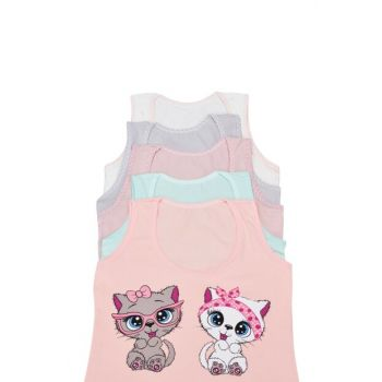 Girls' Mixcolor Singlets Wide Straps Printed 5'Li Package 173336
