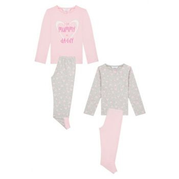 Girl Children Multi-Color Candle & Dad Pajamas Set 4PCS PLBITBII19SK-MIX