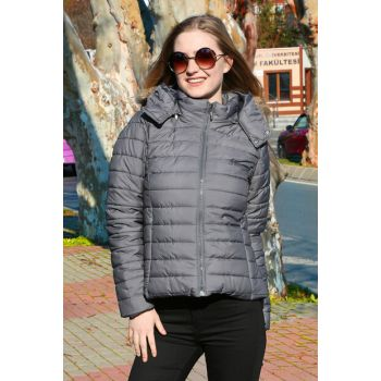 Women's Gray Hooded Furry Inflatable Coat 5057BGD19_018