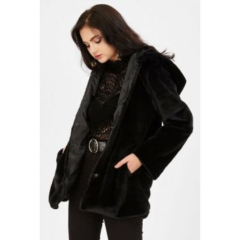Women's Long Hooded Coat - Black 265-9KB20004KBN